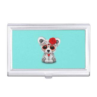 Caja Para Tarjetas De Visita Día rojo del oso polar del bebé muerto