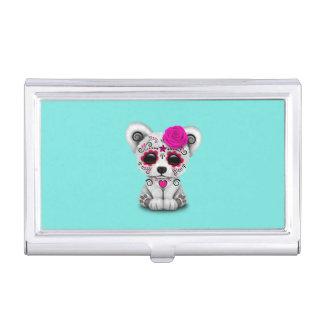 Caja Para Tarjetas De Visita Día rosado del oso polar del bebé muerto