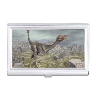 Caja Para Tarjetas De Visita Dinosaurio de Mononykus en el desierto - 3D rinden