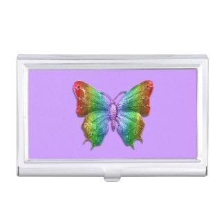 Caja Para Tarjetas De Visita Efecto Jeweled arco iris de la mariposa 3D