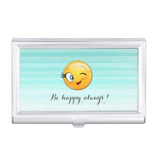 Caja Para Tarjetas De Visita Emoji sonriente de guiño adorable Cara-Es feliz
