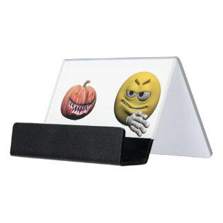 Caja Para Tarjetas De Visita Emoticon amarillo o smiley de Halloween