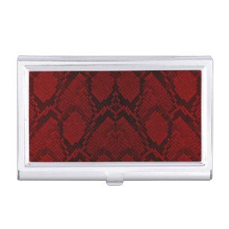 Caja Para Tarjetas De Visita Escalas rojas y negras del reptil de la piel de