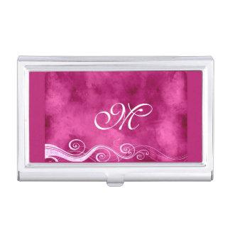 Caja Para Tarjetas De Visita Fuchia femenino con remolinos y el monograma del