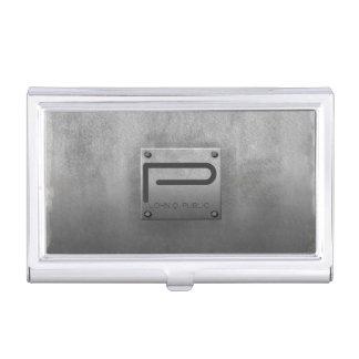 Caja Para Tarjetas De Visita Gris plateado de metal áspero ID327