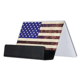 Caja Para Tarjetas De Visita Grunge del vintage de la bandera americana