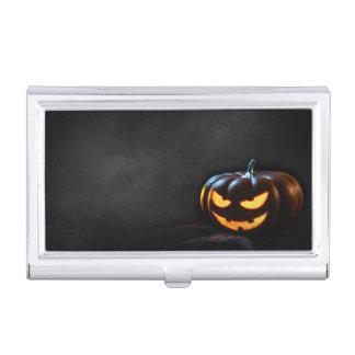 Caja Para Tarjetas De Visita Jack-O-Linterna de la calabaza de Halloween