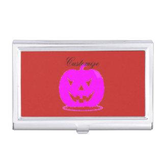 Caja Para Tarjetas De Visita Jack rosado Halloween o'lantern Thunder_Cove
