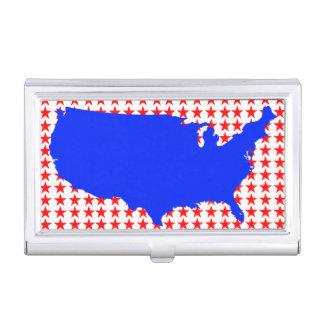 Caja Para Tarjetas De Visita Los E.E.U.U. blancos y azules rojos los Estados