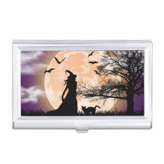 Caja Para Tarjetas De Visita Luna Llena mística de la bruja y del gato