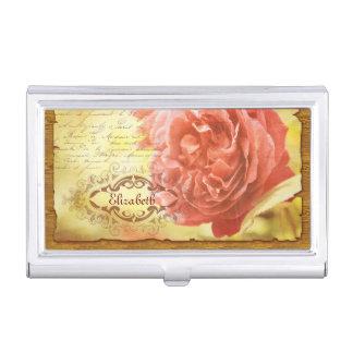 Caja Para Tarjetas De Visita Marco adornado de la escritura color de rosa