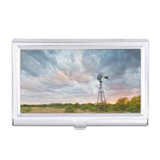 Caja Para Tarjetas De Visita Molino de viento y nubes en la puesta del sol
