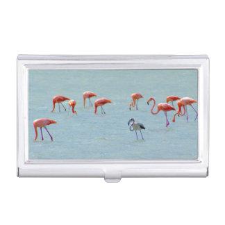 Caja Para Tarjetas De Visita Multitud gris y rosada de los flamencos en el lago