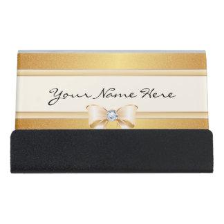 Caja Para Tarjetas De Visita Pendiente apenada enrrollada del oro y arco bonito