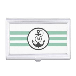Caja Para Tarjetas De Visita Rayas verdes claras con el ancla y Mongram