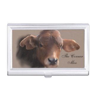 Caja Para Tarjetas De Visita Retrato pelirrojo de la vaca de Brown