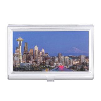 Caja Para Tarjetas De Visita Seattle, centro de la ciudad y el Monte Rainier en