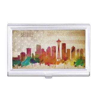 Caja Para Tarjetas De Visita Seattle, horizonte de la ciudad de la acuarela de