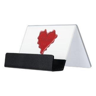 Caja Para Tarjetas De Visita Tiffany. Sello rojo de la cera del corazón con