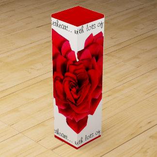 Caja Para Vino Amor en forma de corazón del rosa rojo