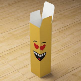 Caja Para Vino Cara sonriente con los ojos en forma de corazón