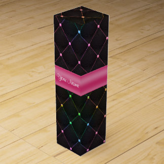 Caja Para Vino Colorido negro rosado acolchada moda personalizado