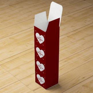 Caja Para Vino Corazón feliz rojo y blanco del el día de San