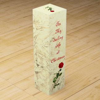 Caja Para Vino Esposa querida del rosa rojo en el diseño del