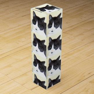 Caja Para Vino Gato blanco y negro