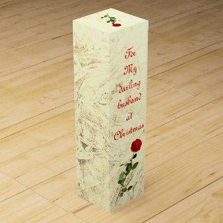 Caja Para Vino Marido querido del rosa rojo en el diseño del