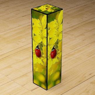 Caja Para Vino Mariquita amarilla del rojo de la buena suerte de