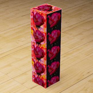 Caja Para Vino modelo rojo de los rosas y de los corazones de la
