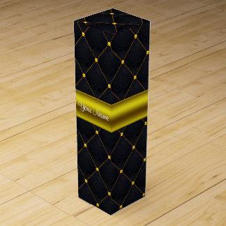 Caja Para Vino Negro acolchado con clase y oro personalizados