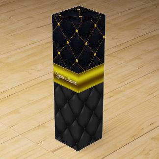 Caja Para Vino Negro acolchado sofisticado y oro