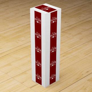 Caja Para Vino Rojo y blanco sea mi corazón de la tarjeta del día