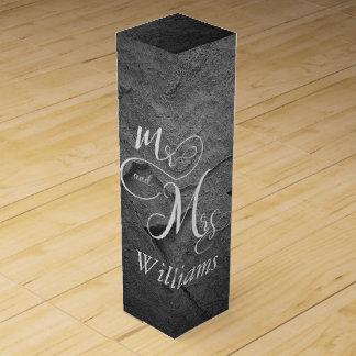 Caja Para Vino Sr. y señora recienes casados en pizarra negra