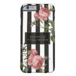 Caja personalizada rayada floral del iPhone del Funda De iPhone 6 Barely There