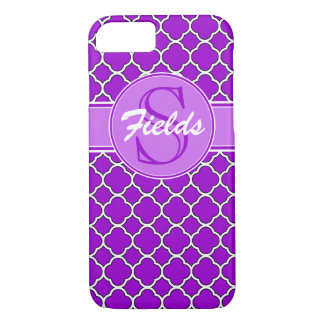 Caja púrpura brillante del iPhone 7 del monograma Funda iPhone 7