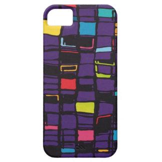 caja púrpura con los cuadrados coloridos funda para iPhone SE/5/5s