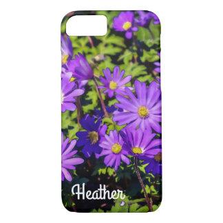 Caja púrpura del teléfono de la flor funda iPhone 7