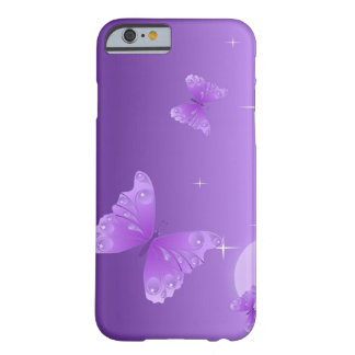 Caja púrpura del teléfono de la mariposa funda de iPhone 6 barely there