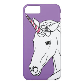 Caja púrpura del teléfono del unicornio bonito funda iPhone 7