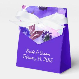 Caja púrpura floral moderna del favor del boda de