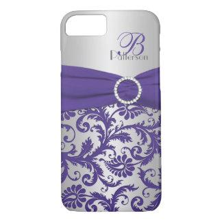 Caja púrpura y de plata del monograma del damasco funda iPhone 7