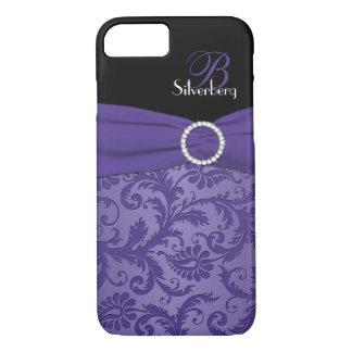 Caja púrpura y negra del monograma del damasco del funda iPhone 7