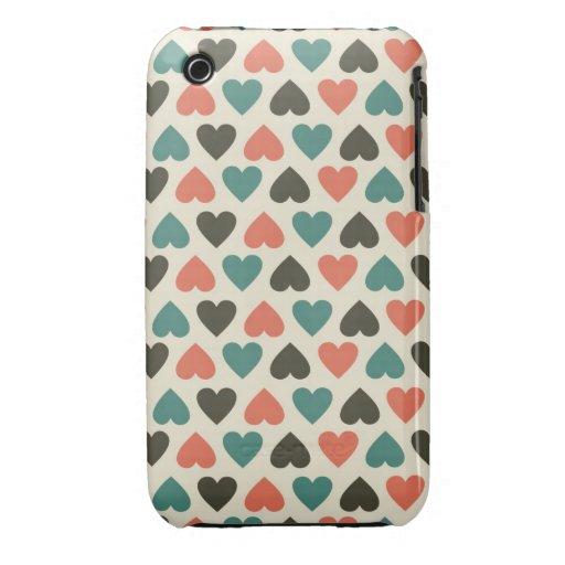 caja retra de la mota del iphone 3 de los corazone iPhone 3 Case-Mate protector