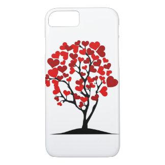 caja roja del iphone del árbol de los corazones funda iPhone 7