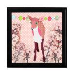 Caja rosada bonita del arte del cervatillo de la f cajas de regalo