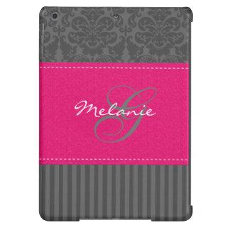 Caja rosada gris del aire del iPad de la raya del
