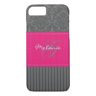 Caja rosada gris del iPhone 7 de la raya del Funda iPhone 7